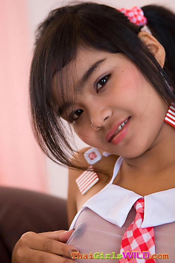 sacuties thaigirls mega petite thai teen panni strips out of her schoolgirl outfit 4